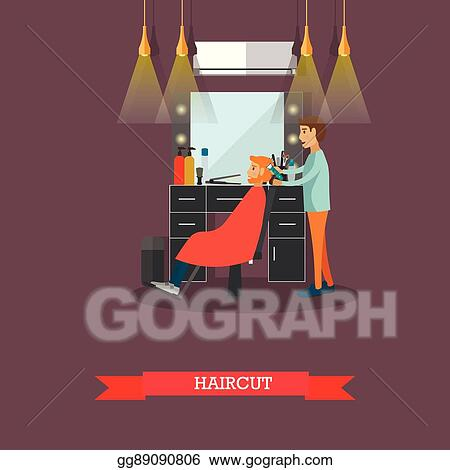 fd15ca83ca2 Barbershop concept vector illustration in flat style. Hair salon design  elements and icons. Barber shop for man