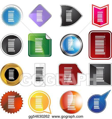 Barcode label. Vector clipart set illustration