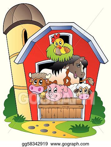 Collection Of Various Farm Animals Barn With