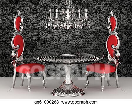 Drawing   Baroque Chairs. Royal Interior. Wallpaper. Clipart Drawing  Gg61090268
