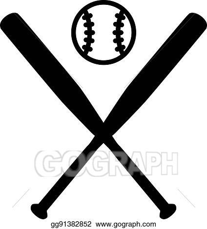 Vector Art Baseball Bats With Ball Clipart Drawing Gg91382852