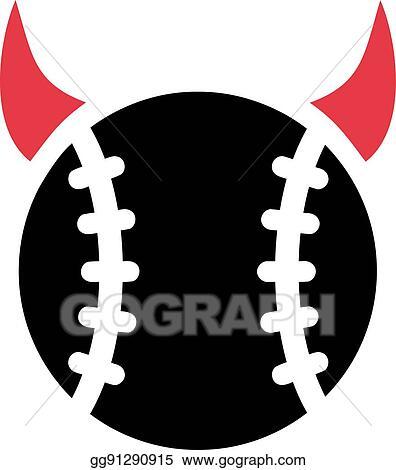 Vector Art Baseball Devil Horns Eps Clipart Gg91290915 Gograph