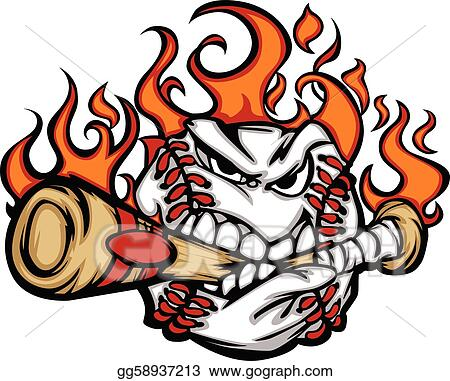eps vector baseball flaming face biting bat stock clipart