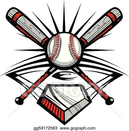 vector art baseball or softball crossed bats w clipart drawing rh gograph com Crossed Bats SVG Crossed Bats Vector