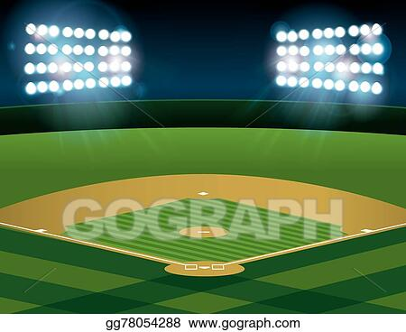 eps illustration baseball softball field lit at night vector rh gograph com Velma Softball Player Softball Player Clip Art