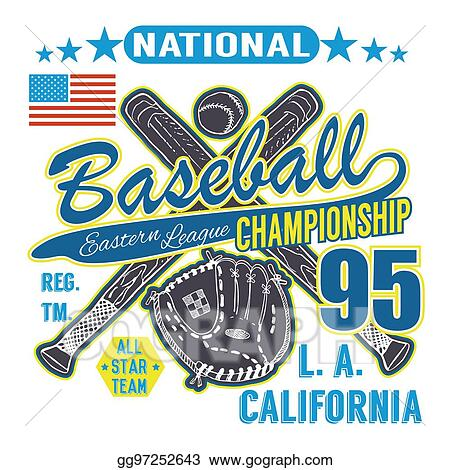 Stock Illustration - Baseball sport typography, eastern