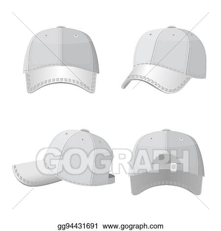 Clip Art Vector - Baseball white caps in front side and ...