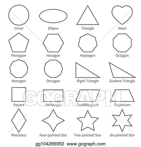 Eps Illustration Basic Geometric Outline Flat Shapes Educational