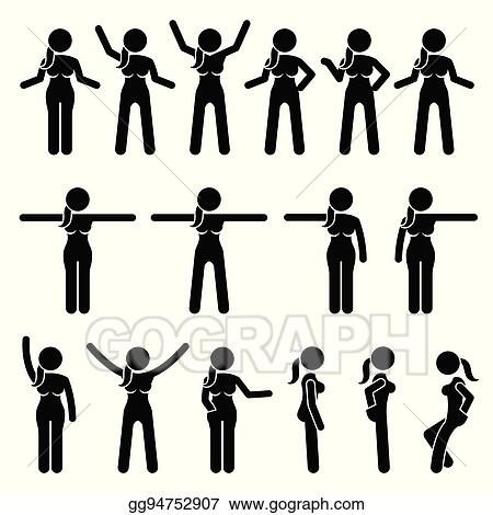 Vector Illustration Basic Woman Standing Actions And Movements Stock Clip Art Gg94752907 Gograph
