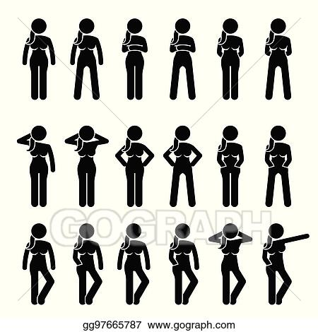 Vector Stock Basic Woman Standing Postures And Poses Stock Clip Art Gg97665787 Gograph