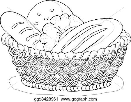 Vector Illustration Basket With Bread Contour Eps