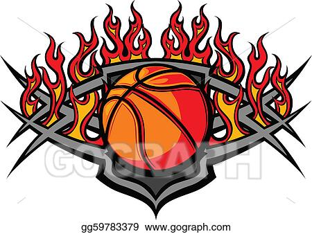 vector illustration basketball ball template with flame stock