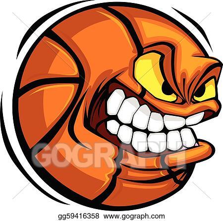 Eps Illustration Basketball Face Cartoon Ball Vector Vector
