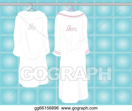 79ab04d7ac EPS Vector - An illustration of two his and hers white bath robes hanging  on a metallic rail in a tiled bathroom. Stock Clipart Illustration  gg66156896