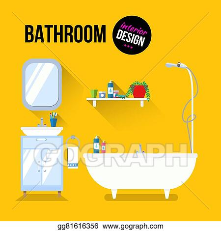 Vector Art Bathroom Interior Design Clipart Drawing Gg81616356 Gograph