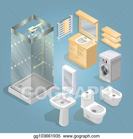 Clip Art Vector Bathroom Items And Furniture Isometric Icon Set