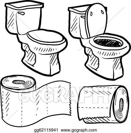 Eps Vector Bathroom Objects Sketch Stock Clipart Illustration