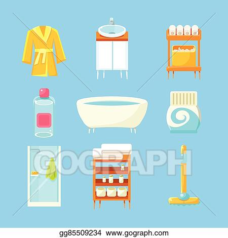 Vector Art Bathroom Things Set EPS Clipart Gg48 GoGraph Delectable Bathroom Clipart Set