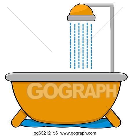 vector illustration bathtub with shower eps clipart gg63212156 rh gograph com bathtub clip art free clipart bathtub free