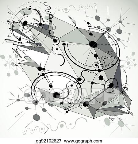 bauhaus-art-3d-composition-with-low-poly-deformed-object-perspective-grayscale-modular-vector-wallpaper-made-using-circles-and-wires-mesh-graphic-backdrop-for-use-as-booklet-cover-template_gg92102627 Trends For Vector Art 3d @koolgadgetz.com.info