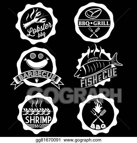 vector stock bbq seafood steak labels icons badges template