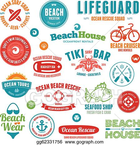 cf381cbe60c Vector Clipart - Beach badges and emblems. Vector Illustration ...