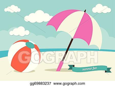 Vector Illustration Beach Ball And Sun Umbrella Eps Clipart