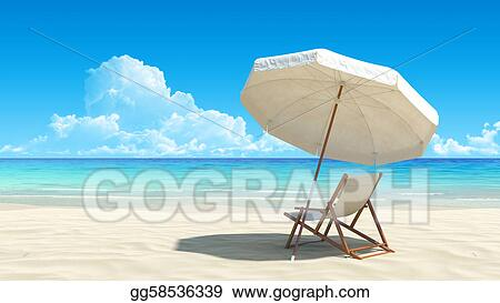 stock photo beach chair and umbrella on idyllic tropical sand