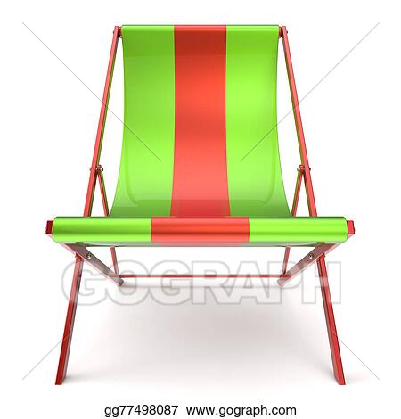 Beach Chair Chaise Longue Green Red Nobody Relaxation Icon