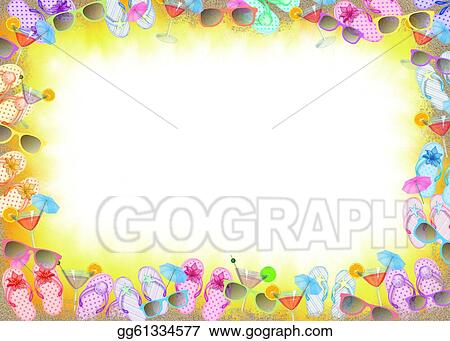 Clip Art - Beach party frame. Stock Illustration gg61334577 - GoGraph