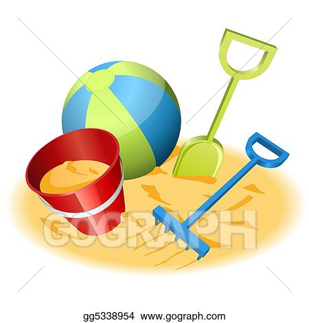 stock illustration beach toys clipart drawing gg5338954 gograph rh gograph com Beach Ball Clip Art Beach Pail Clip Art