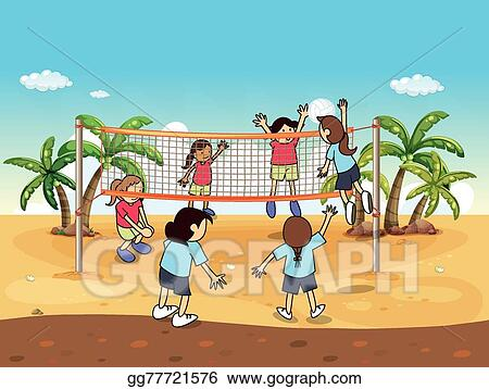 vector art beach volleyball clipart drawing gg77721576 gograph rh gograph com Beach Cornhole sand volleyball clipart free