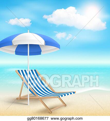 Beach With Sun Umbrella Chair And Clouds Summer Vacation