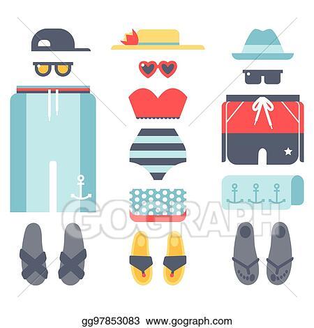 5fe839f007 Beachwear bikini cloth fashion looks vacation lifestyle women collection  sea light beauty clothes vector illustraton