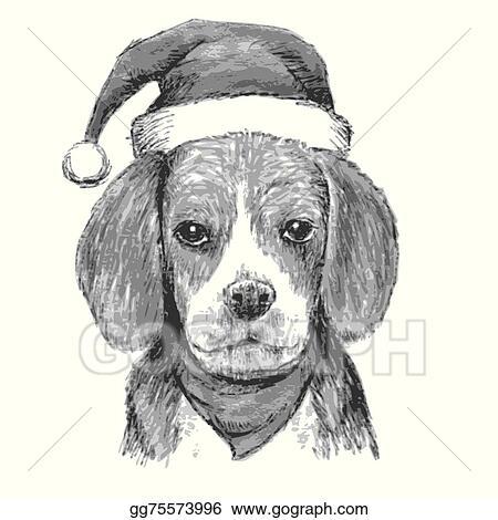 Christmas Beagle Clipart.Eps Vector Beagle With Christmas Hat Stock Clipart