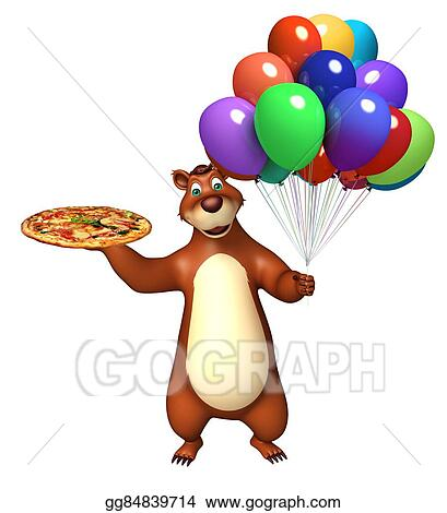 stock illustrations bear cartoon character with pizza and balloon