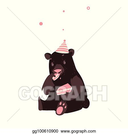 Astonishing Eps Vector Bear In Party Hat Sitting And Eating Birthday Cake Funny Birthday Cards Online Inifofree Goldxyz
