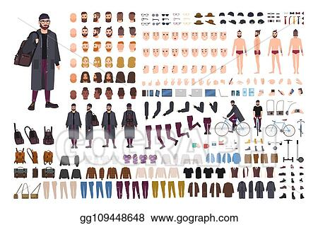 e74800002 Bearded hipster guy creation set or DIY kit. Collection of flat cartoon  character body parts, trendy clothes, accessories isolated on white  background.