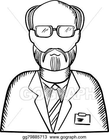 eps illustration bearded scientist in lab coat sketch vector Consultation Coat bearded scientist in lab coat sketch