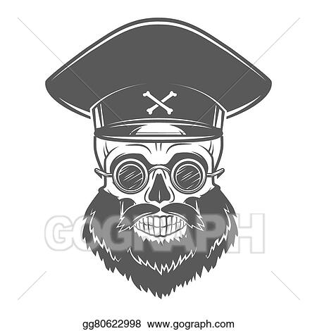 ac3e434f Bearded Skull with Captain cap and goggles. Dead crazy tyrant logo concept.  Vector dictator t-shirt illustration