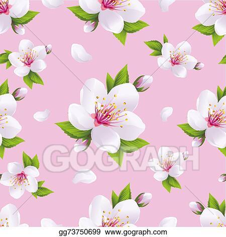 Beautiful Background Seamless Pattern Sakura Blossom