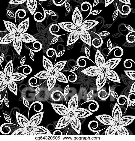 Vector Illustration Beautiful Black And White Floral Background