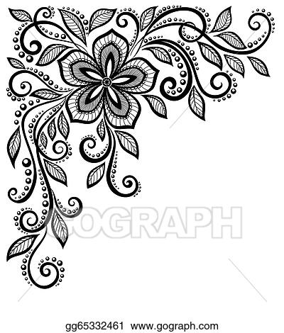 Beautiful Black And White Lace Flower In The Corner With E For Your Text Greetings
