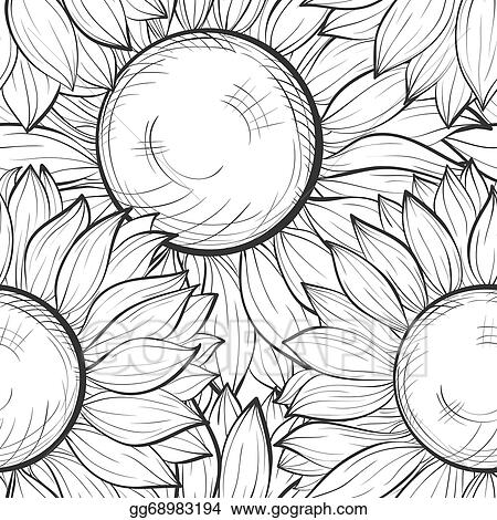Beautiful Black And White Seamless Background With Sunflowers