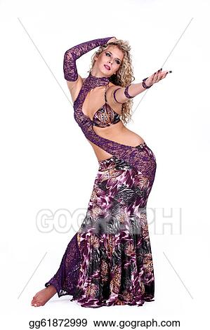 ca5d56fc4223e Stock Photo - Beautiful blonde in the active arab dance. Stock ...