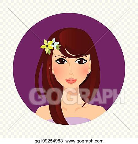 Vector Art Beautiful Brunette Girl With Hazel Eyes And Long Hair