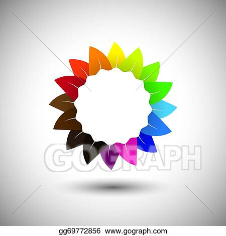 Vector Art Beautiful Colorful Flower Color Wheel Vector Icon