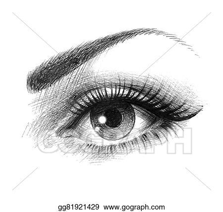 Fashion illustration with beautiful eyes. Close up with beautiful eyes with  long eyelashes. fashion black and white