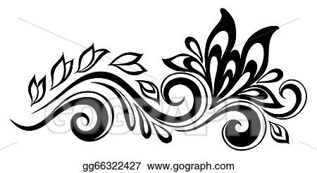Line The Art Element : Vector clipart beautiful floral element. black and white flowers
