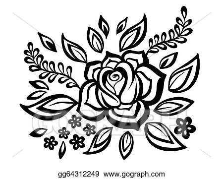 Vector Illustration Beautiful Floral Element Black And White